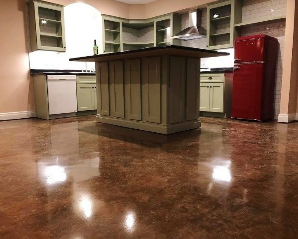 shiny stained concrete kitchen floor
