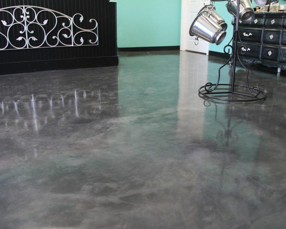glossy gray water-based stained concrete flooring